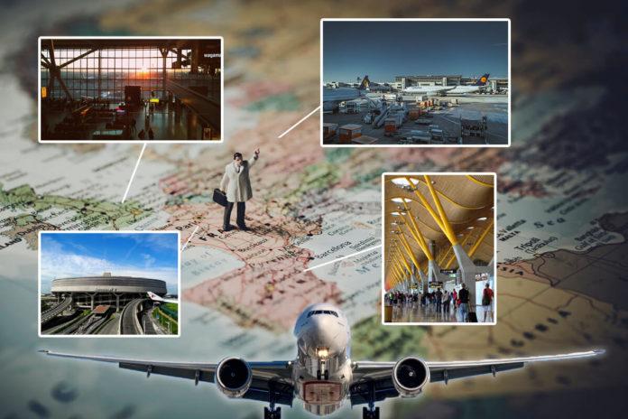 Hartă indicând câteva dintre cele mai mari aeroporturi din Europa